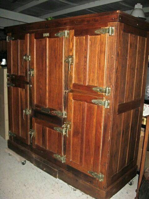 Vintage Antique Commercial Oak Cooler Ice Box Refrigerator