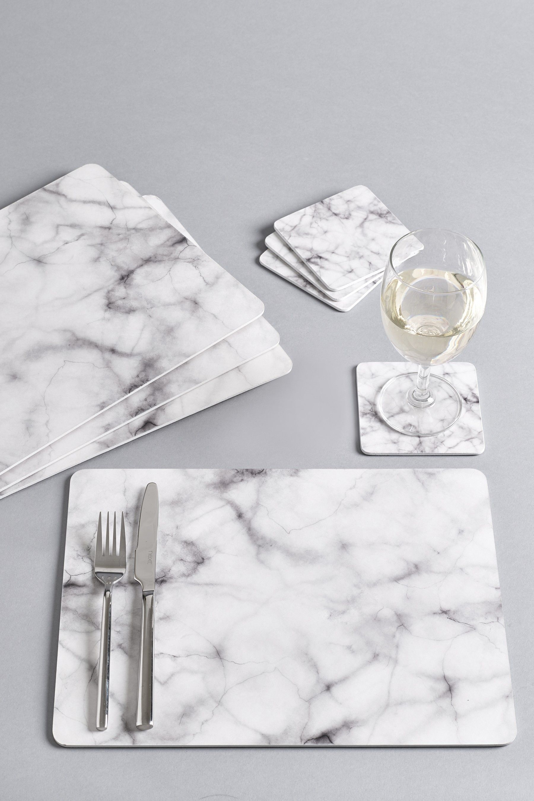 Next Set Of 4 Marble Placemats And Coasters White Marbles