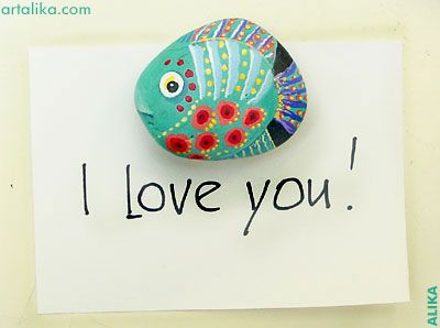 fish painted rock (beautiful, love the eyes)