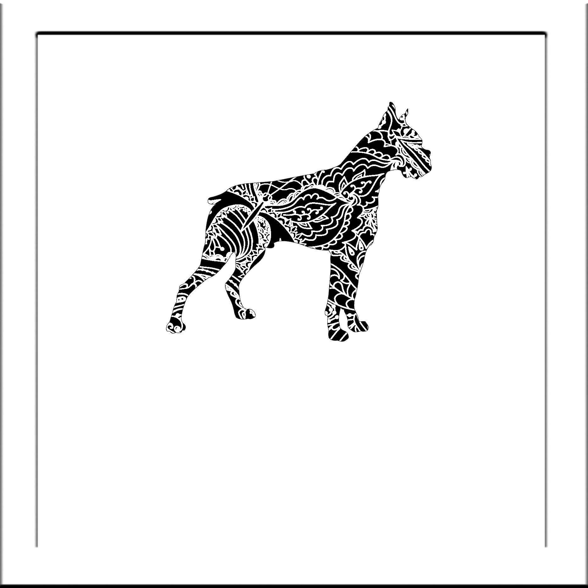 Boxer Dog Papercut Template Pit Bull Dogs - Svg Paper Cut Templates ...