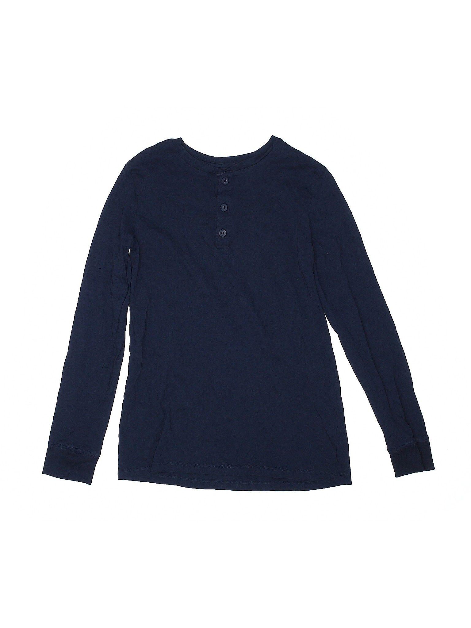 H & M Long Sleeve Henley Shirt 12: Blue Solid Boy's Tops