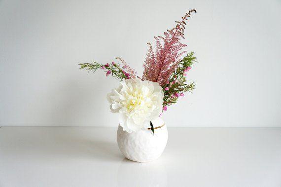 White And Gold Sphere Vase White Porcelain Vase The