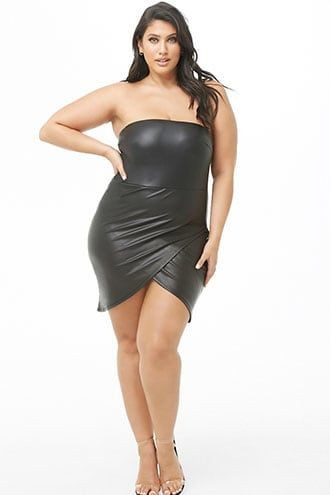 Plus Size Faux Leather Tulip Dress | Products in 2019 | Tulip dress ...