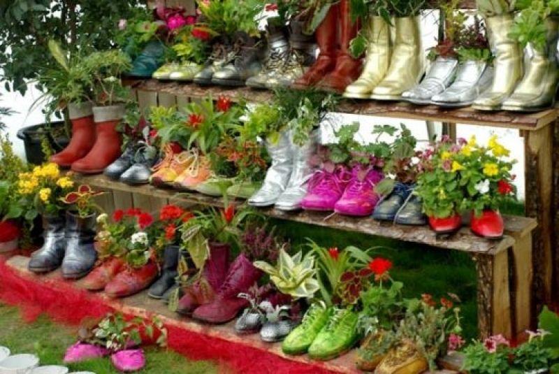 garten design deko ideen schuhe bepflanzen upcycling pinterest ... - Upcycling Ideen Garten