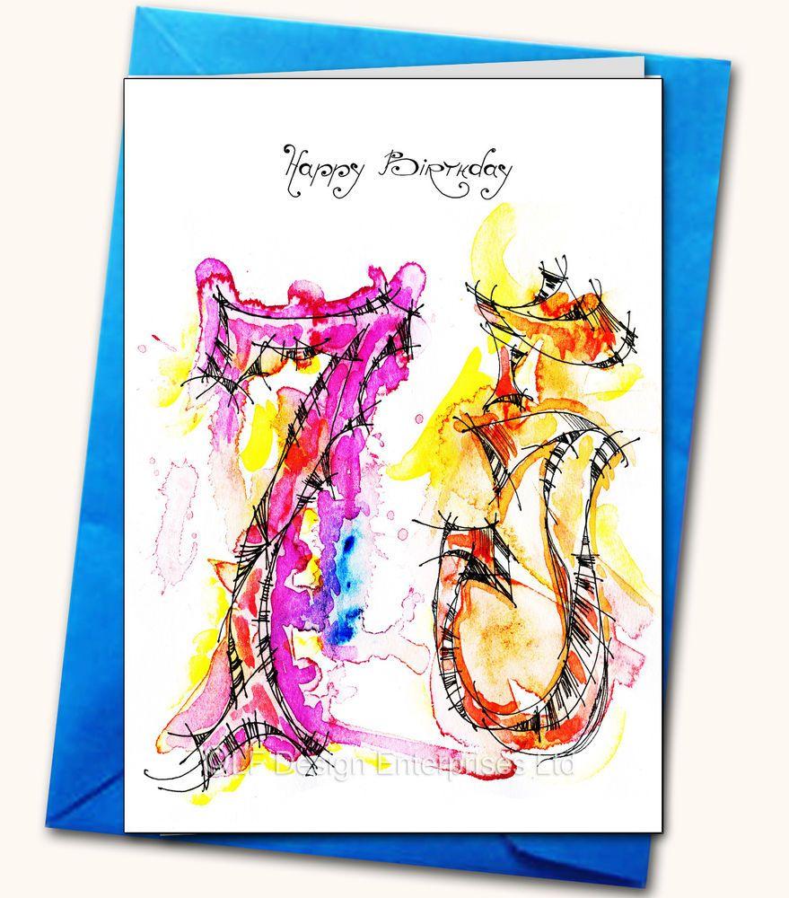 75th Birthday Handmade Card Personalised Watercolour Artist Card