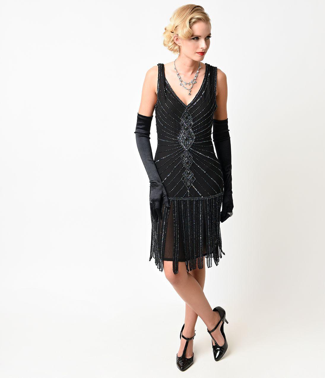 Black dress flapper girl dresses