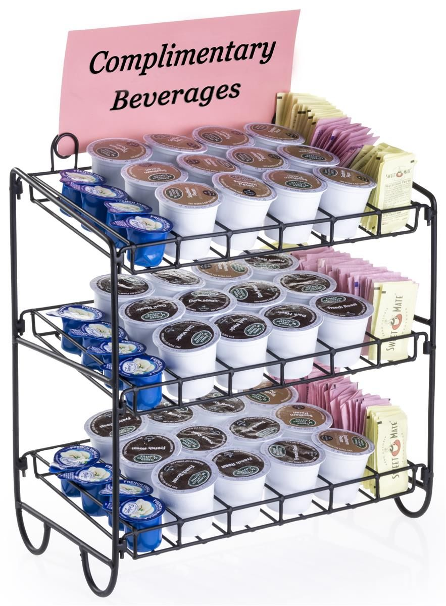 3 Tier Countertop Wire Rack For K Cups 4 Rows Per Shelf Sign