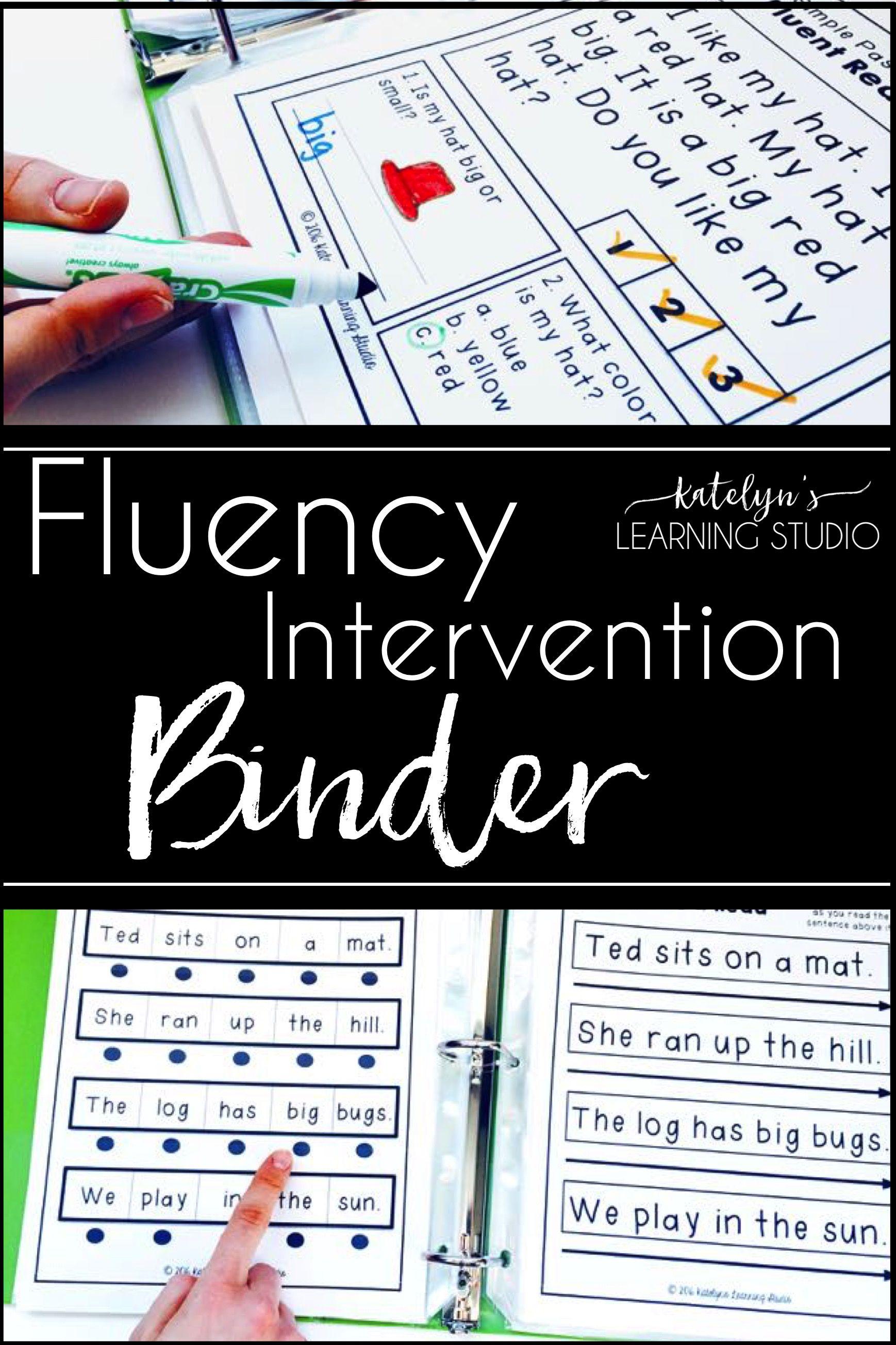 Fluency intervention binder kindergarten and students