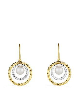 David Yurman Pearl Earrings with Diamonds in Gold | Bloomingdale's