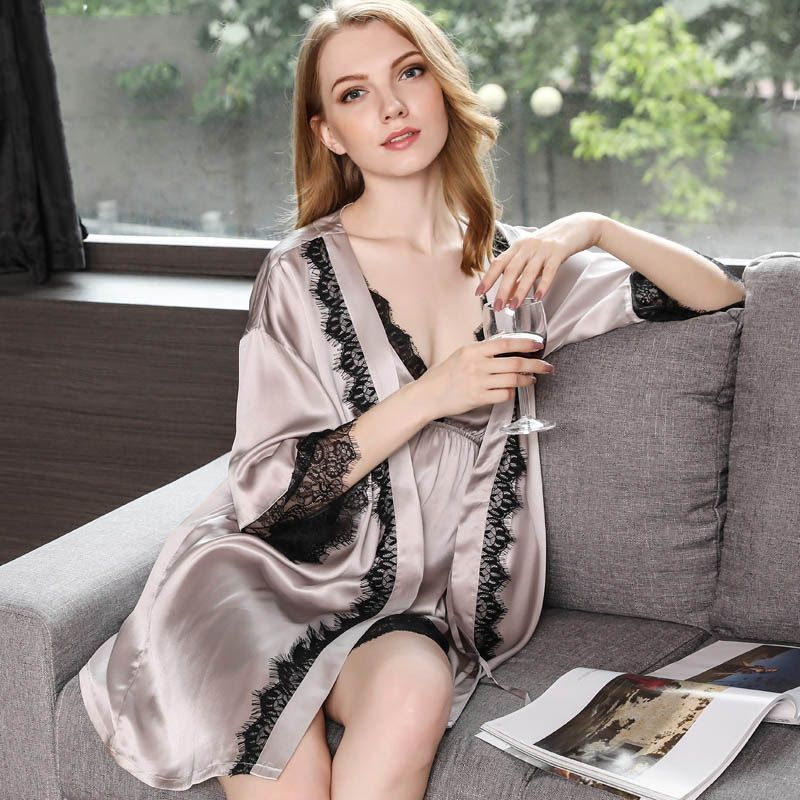 19 Momme Silk Nightgown Robe Set with Lace Edge  83d077661