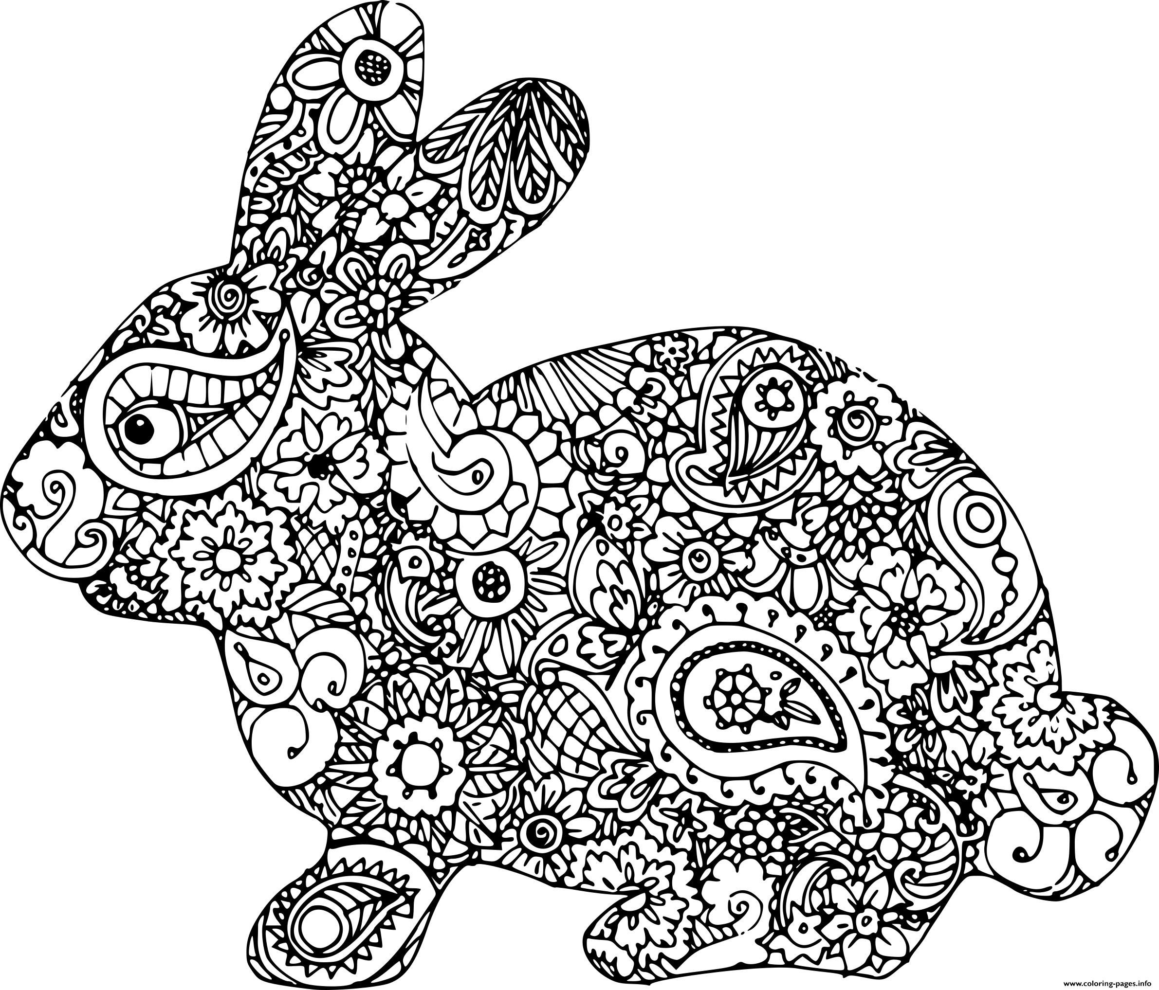 Print Easter Bunny Adult Difficult Coloring Pages Bunny Coloring