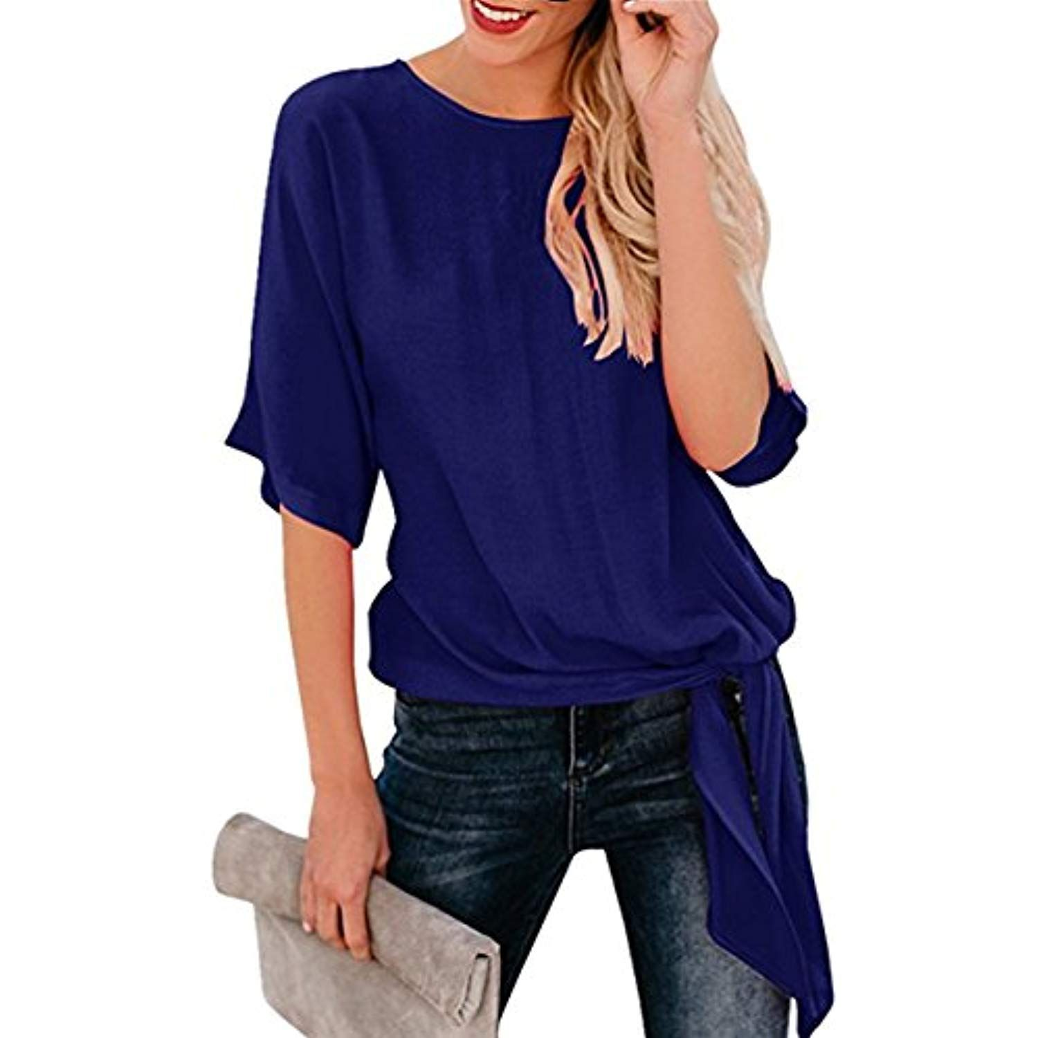 0c6fd5b8c Womens Loose Blouse Half Sleeve Round Neck T Shirts Tie Front Knot Casual  Tops ** Click image for more details. (This is an affiliate link)
