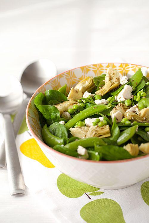 Artichoke Salad with Spinach, Feta and Sugar Snap Peas