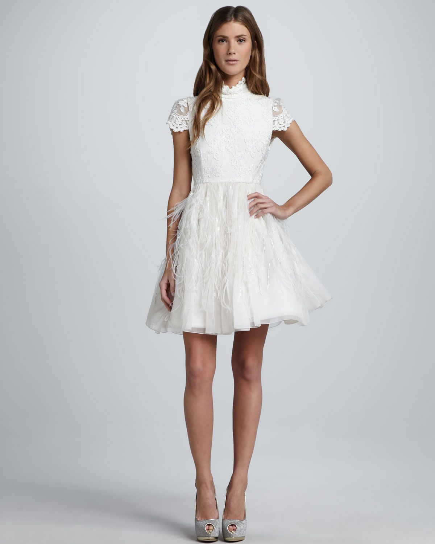 Alice + Olivia Feather-Skirt Open-Back Dress - Bergdorf Goodman   If ...