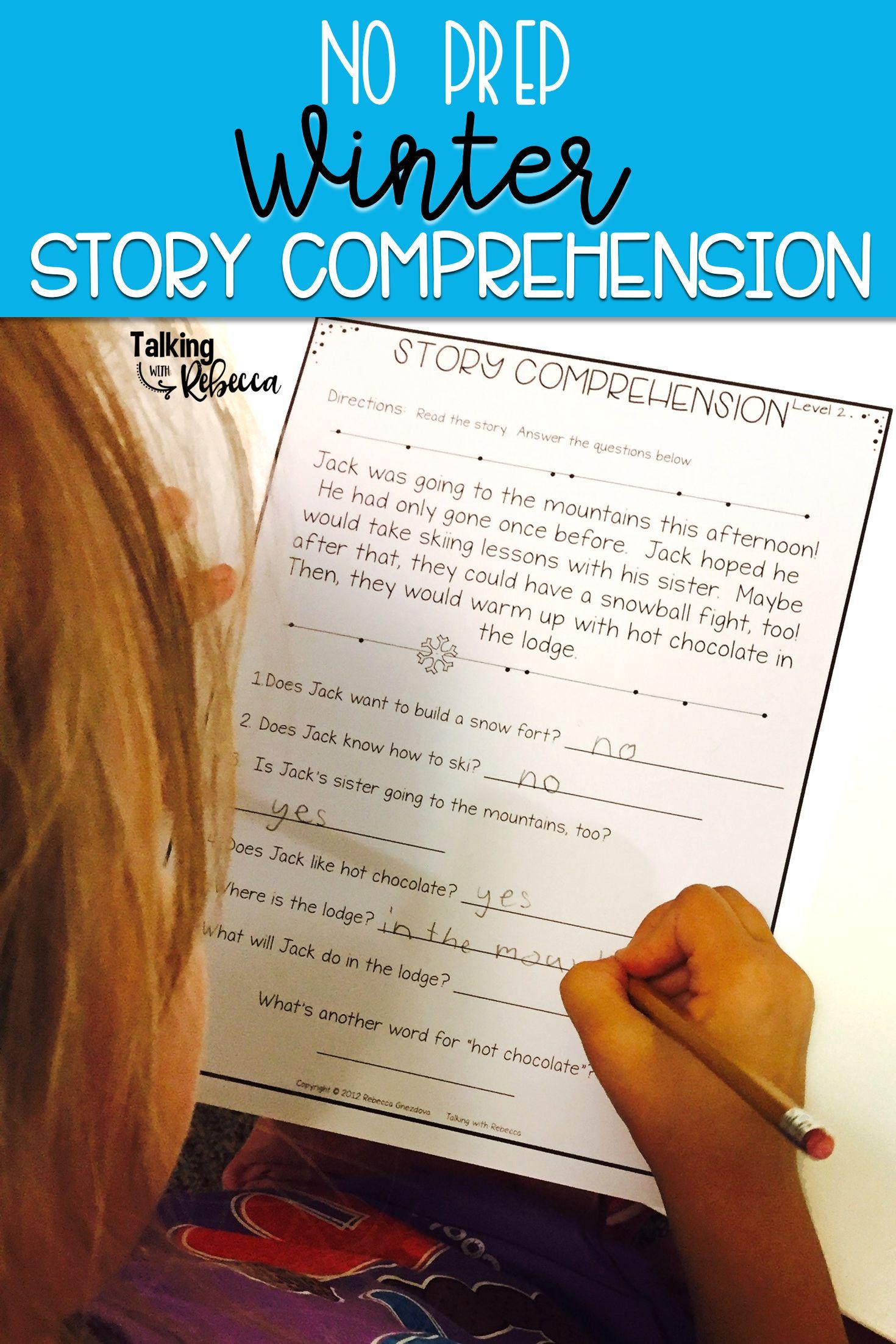 Winter Story Comprehension Worksheets