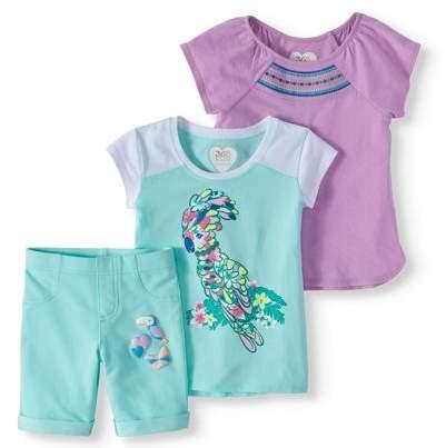 c7051d064 365 Kids From Garanimals Little Girls' 4-8 Raglan T-Shirt, Graphic T-Shirt,  and Graphic Knit Bermuda Short 3-Piece Set