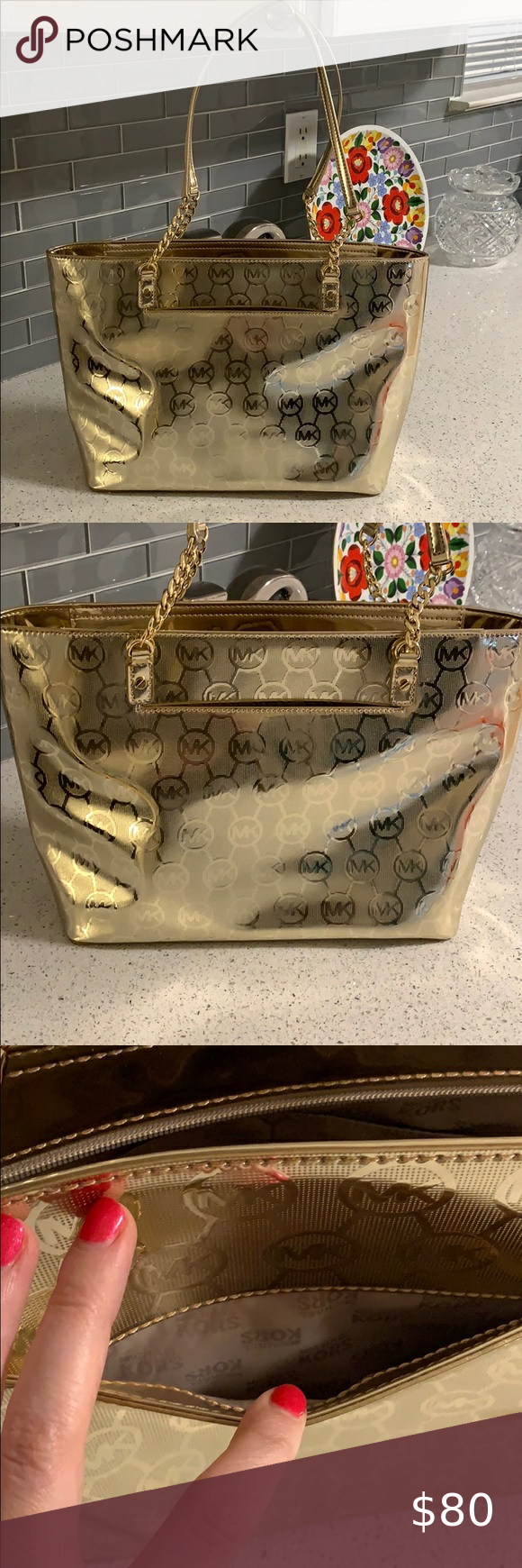 Gold Michael Kors purse Brand new without tags Michael Kors gold purse! Zips at the top. Lots of storage! Beautiful bag! #mk #michaelkors #purse #michaelkorspurse Michael Kors Bags Shoulder Bags