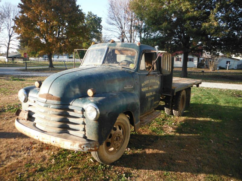 1953 Chevy 3800 Truck 1 Ton Dually Flatbed RARE BARN FIND