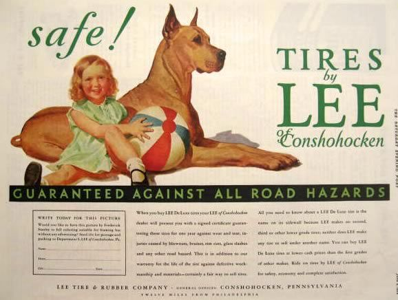 1934 Lee Tires Ad Little Girl With Great Dane Frederic Stanley