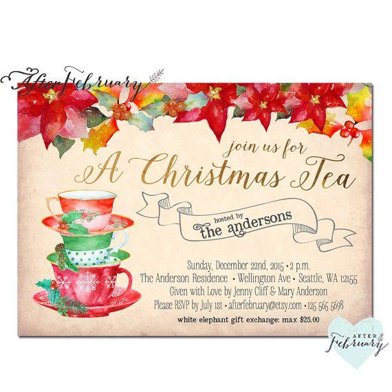 christmas tea party invitation invites christmas tea invitation