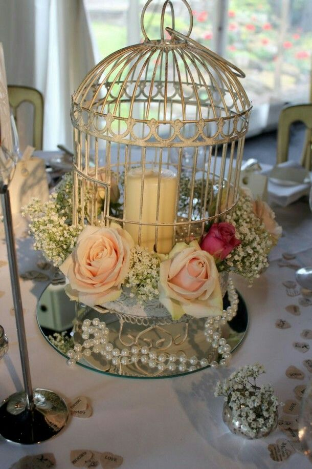 White Cage Bird DecorationBird CenterpieceCenterpiece IdeasBirdcage DecorWedding GiveawaysWedding CentrepiecesWedding TablesTable