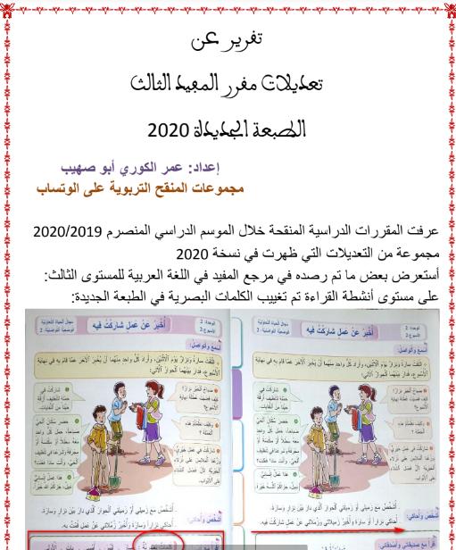 تقرير عن تعديلات مقرر المفيد الثالث الطبعة الجديدة 2020 Https Ift Tt 336bxqq Words Word Search Puzzle Pals