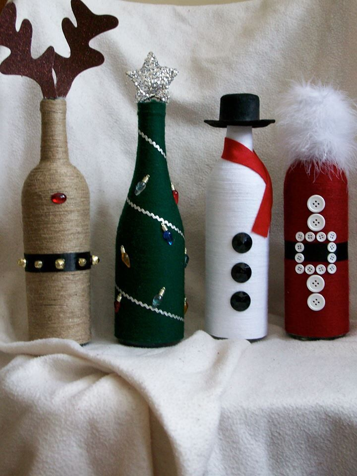 Christmas decor wine bottles wine bottle crafting for Empty bottle decoration ideas