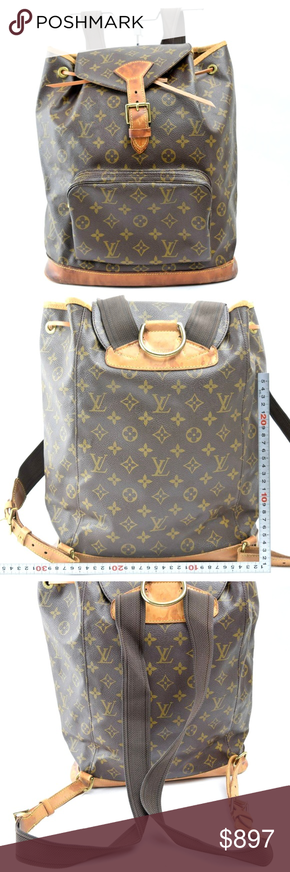 fd1528b33d8 Auth Louis Vuitton Montsouris GM Backpack 149LBP42 Preloved in good cond.  Exterior shows minor rip