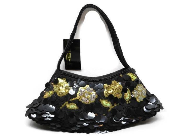 Sasha New York Evening Bag Black Gold Sequins Handle New