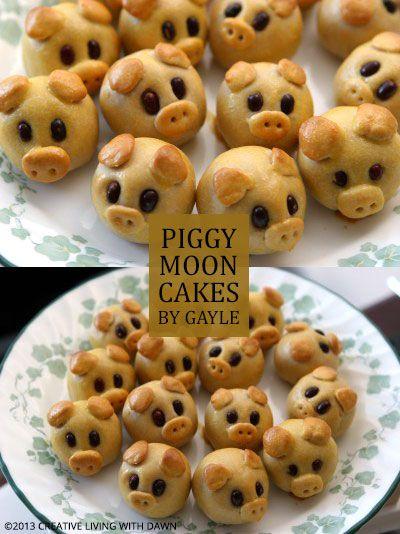 Piggy moon cakes #mooncake
