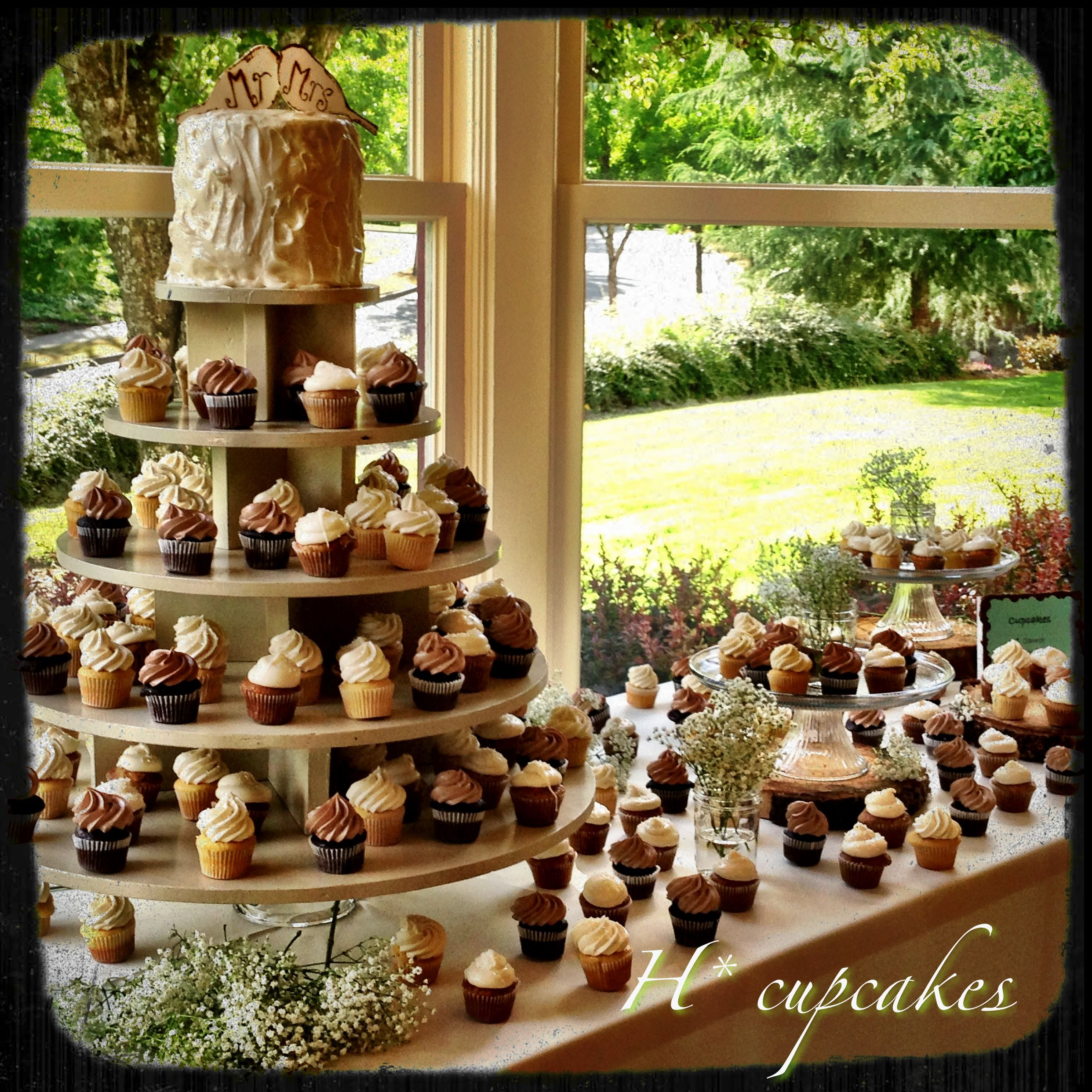 Wedding cupcake table Choose some cool flavors and colors