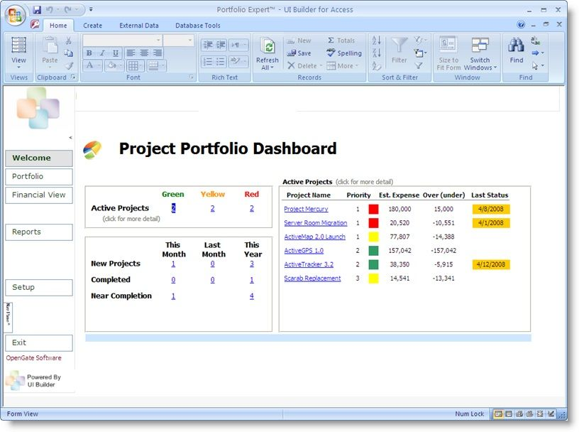 Project Portfolio Dashboard Template Projectemplates Excel