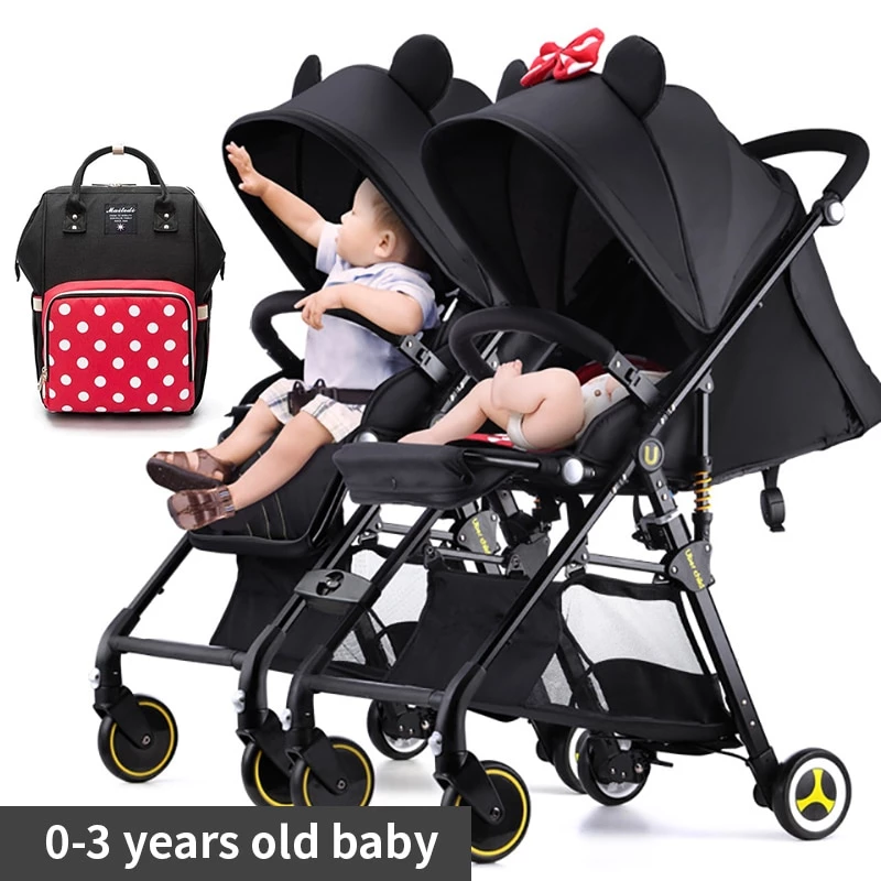 Twin Baby Stroller Detachable Folding Lightweight Sit Or
