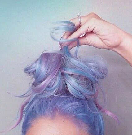 Pastel Baby Pink Blue And Lavender Dyed Hair Hair Color Pastel