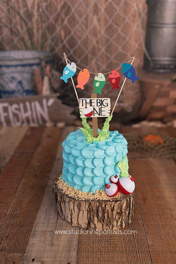 Fishing First Birthday Cake Topper, Gone Fishing Topper, The Big ONE Cake Topper #boybirthdayparties
