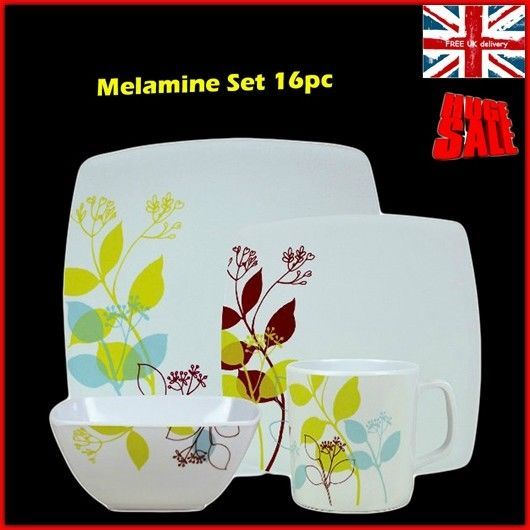 Melamine Dinnerware Set Floral Square Kitchen Plates Cups C&ing Picnic 16pc UK  sc 1 st  Pinterest & Melamine Dinnerware Set Floral Square Kitchen Plates Cups Camping ...
