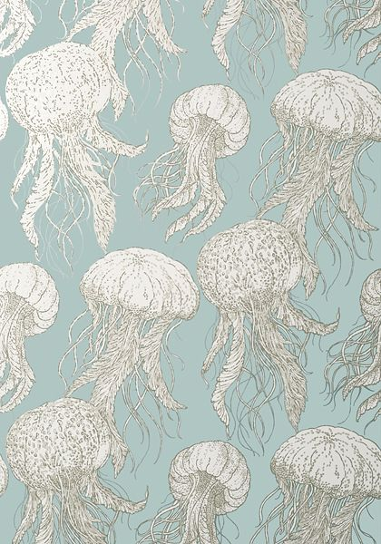 JELLY FISH BLOOM, Aqua, T13170, Collection Summer House