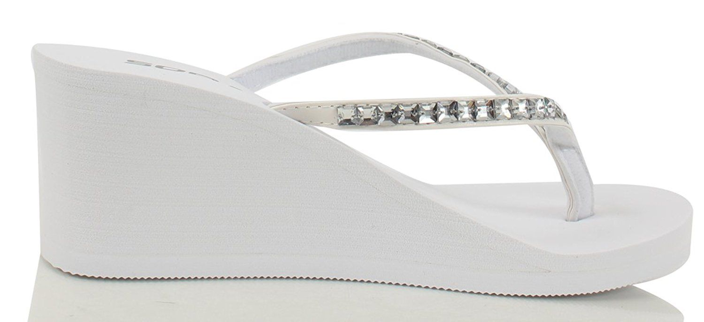 e2cd78b02de5c Soda Women Kaku Rhinestone Thong Slip-on Sandals Eva Wedge    Click image  for