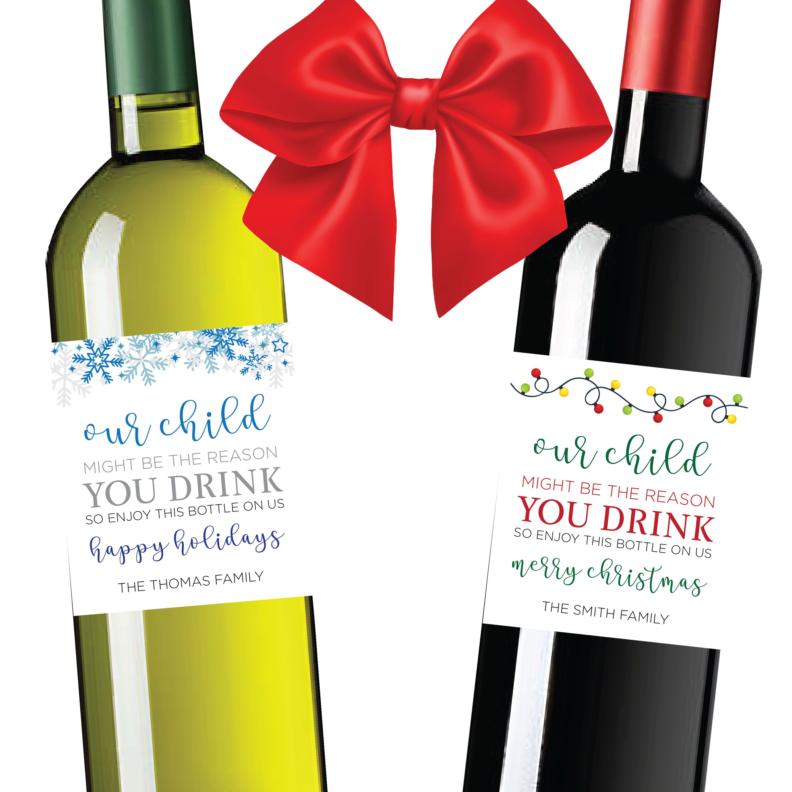 Christmas Wine Bottle Label Check It Out At Https Www Etsy Com Shop Labelthem Christmas Wine Bottle Labels Wine Bottle Labels Wine Bottle