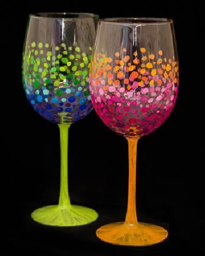 Colourful Circles Wine Glasses Painted Wine Glasses Glass Painting Painted Wine Glass