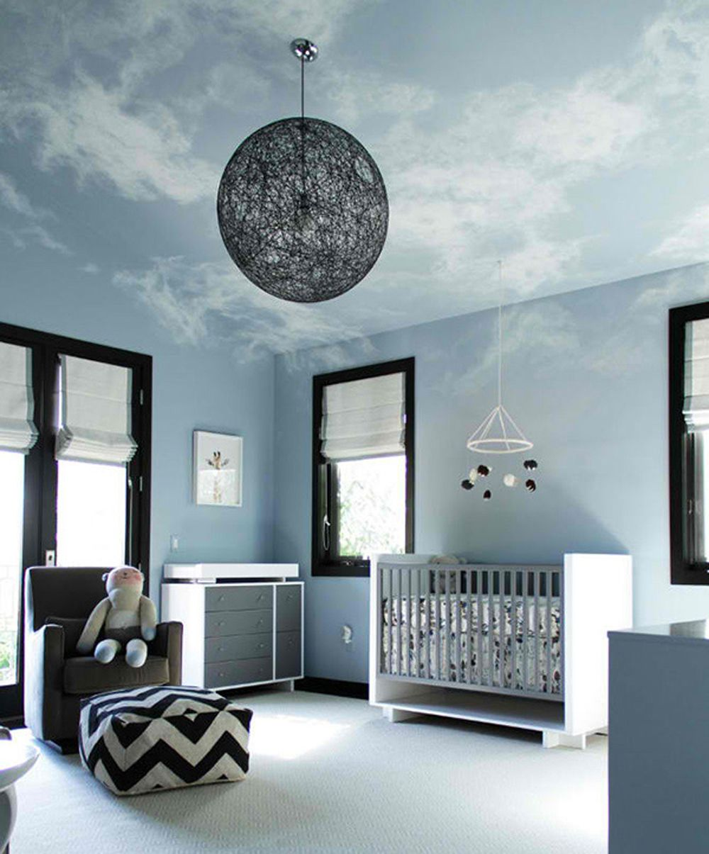 toddler-nursery-room-design-with-hand-painted-clouds-ceiling-ideas ...
