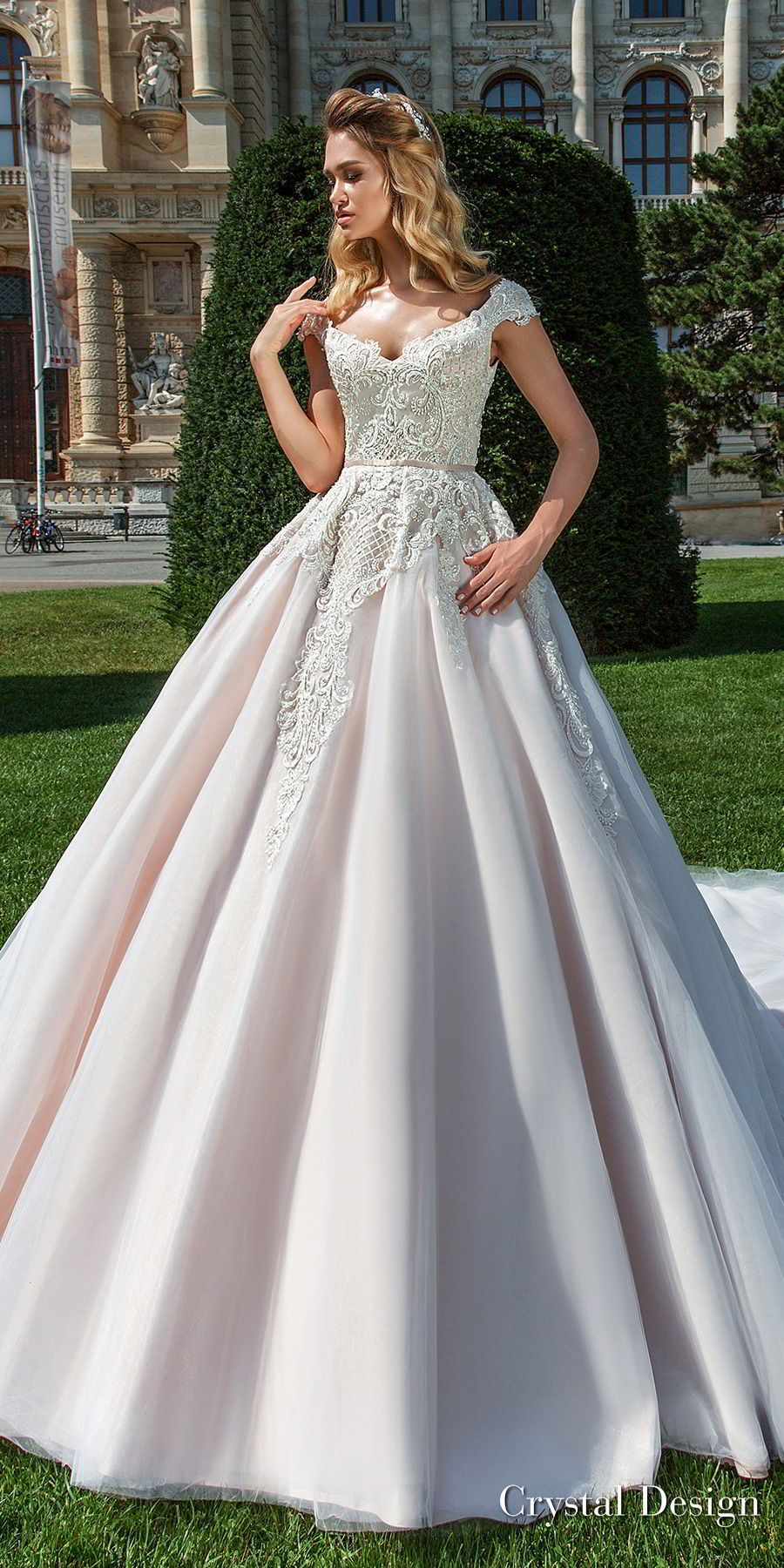 Wedding dresses v neck  crystal design  cap sleeves v neck heavily embellished bodice