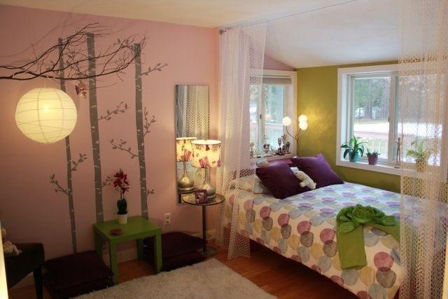 schlafzimmer teenager mädchen deko ideen rosa wand birken schatten, Schlafzimmer