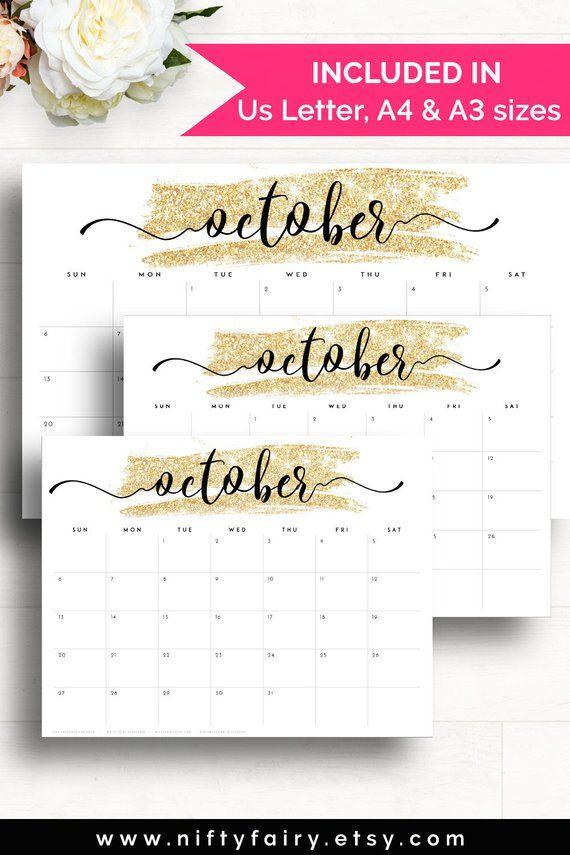 2019 Desk Calendar, Monthly Planner 2018-2019, A3 Desk Planner