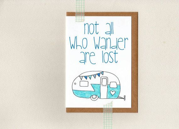 Not all who wander are lost greeting card mini print blue not all who wander are lost greeting card mini print blue vintage retro caravan camper wanderer grey nomad bon voyage australia m4hsunfo