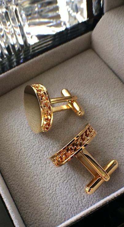 antique gold filled cuff-links vintage older cuff links ornate etched design vintage accessory cufflinks
