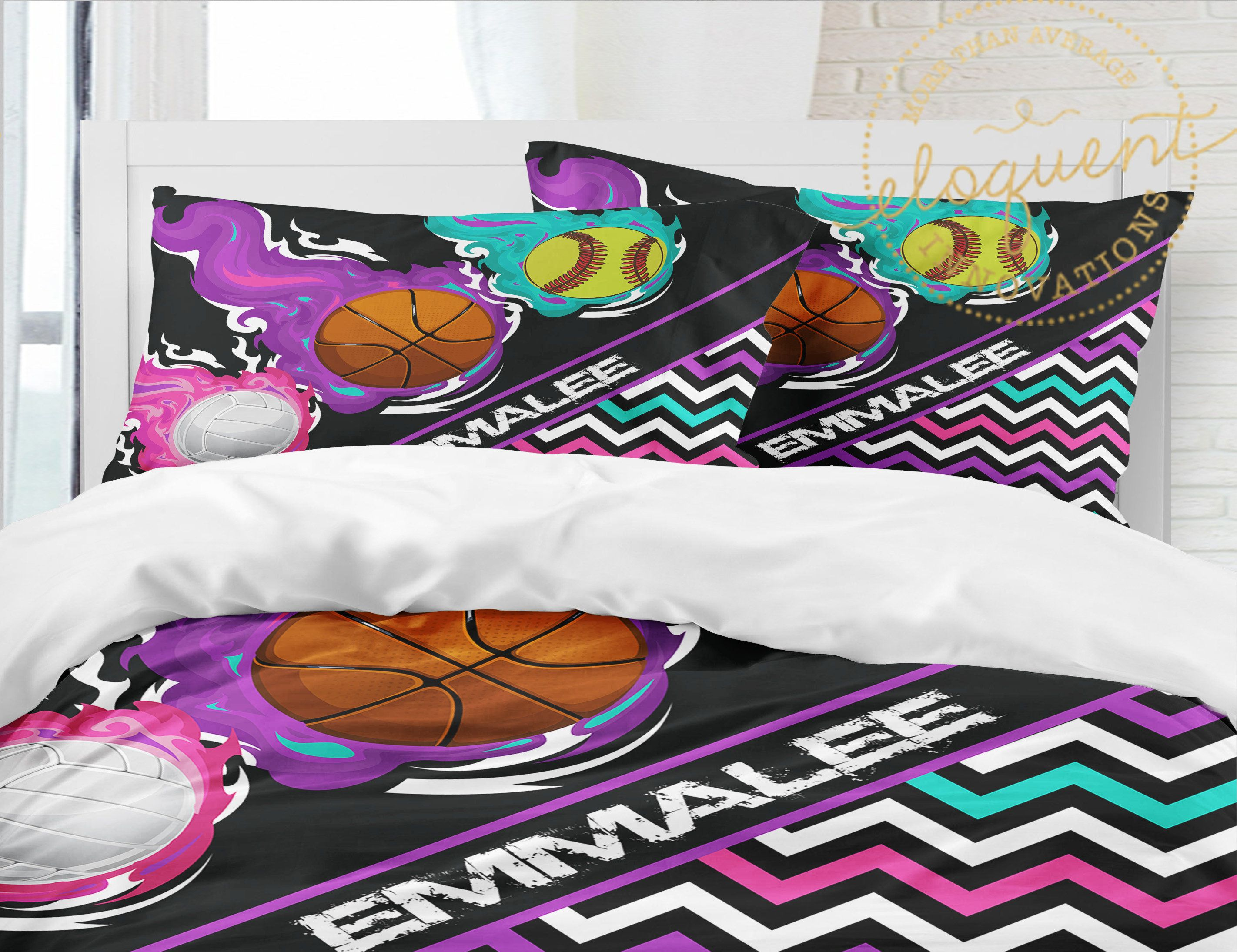 Softball Bedding Set Girls Sports Comforter Basketball Volleyball Kids Custom Personalized With Name King Queen Full Twin Xl 411 With Images Girls Sports Bedding Sports Bedding Sports Comforter