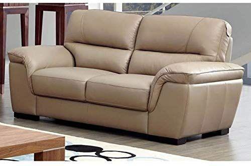 Phenomenal Amazon Com Luca Home Beige Leather Contemporary Loveseat Bralicious Painted Fabric Chair Ideas Braliciousco