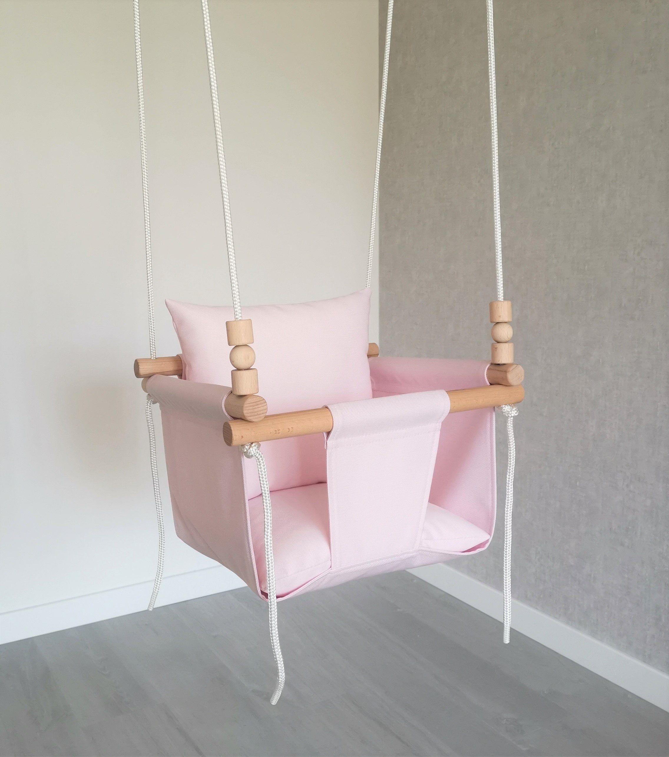 Weatherproof Pink Baby Swing Outdoor Indoor Swing Toddler Swing
