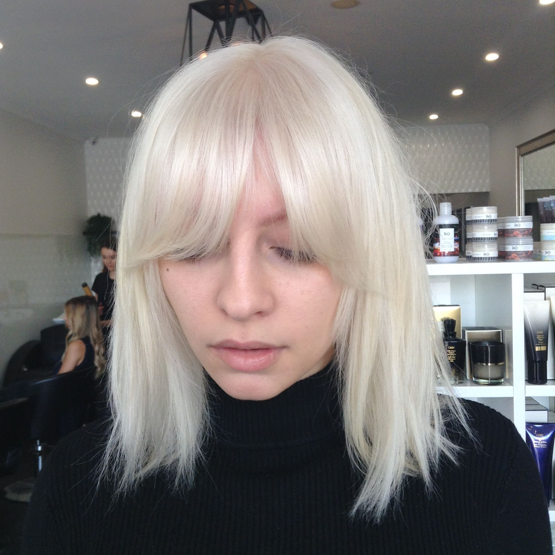 Ice Blonde And Bangs Solid Heavy Fringe Blonde Hair With Fringe